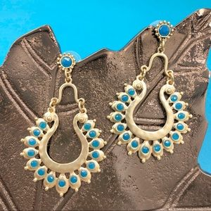 🌼3/$30🌼 Matte Gold Blue Boho Post Drop Earrings